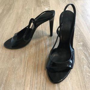 Balenciaga Black Leather Open Toe Strappy Heel
